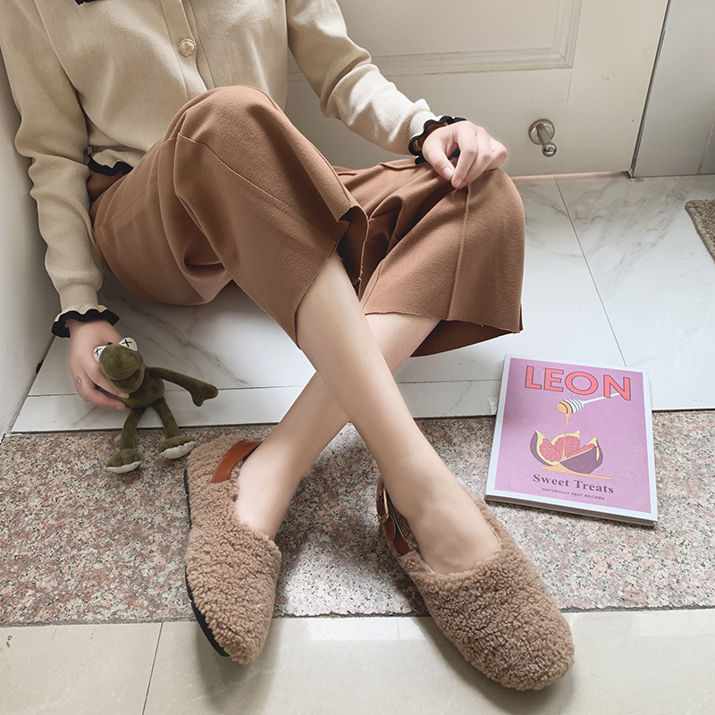 SLHJC Round Toe Loafers Flat Heel Slip On Women Autumn Flats Shoes Curly Fur Warm Female Drive Shoes 24