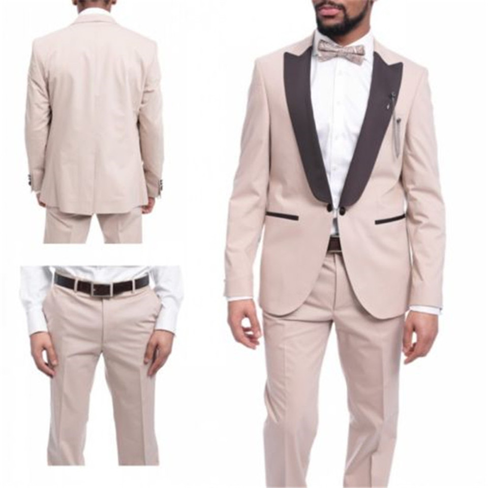 New Men's Suit Smolking Noivo Terno Slim Fit Easculino Evening Suits For Men Beige Tuxedo Groom Wedding Prom Blazer Jacket+pants