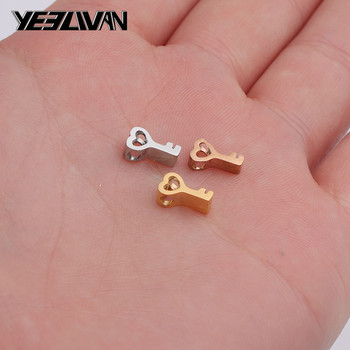New Arrival Stainless steel Small Charms Pendant key Rose Gold Color 5*8 mm DIY Jewelry Making Handmade Crafts Bracelet