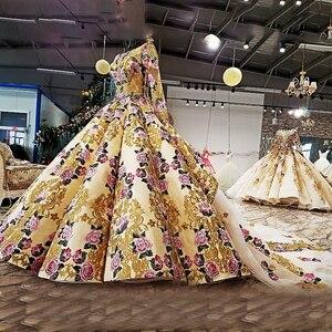 Image 3 - LS39810ヘビービーズイブニングドレス長袖花柄ガウンセクシーなスパンコールpronmイブニングドレス中国アリババ卸売