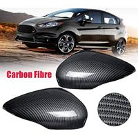 Car Wing Door Carbon Fiber Rear View Mirror Cover Trim Case for for Ford Fiesta Mk7 2008 2009 2010 2011 2012 2013 2014 2017