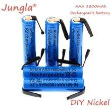Новинка 1,2 в AAA перезаряжаемая батарея 1800 мА/ч AAA Ni-MH ячейка со сварочными вкладками плоская крышка для игрушек беспроводной телефон + DIY никел...