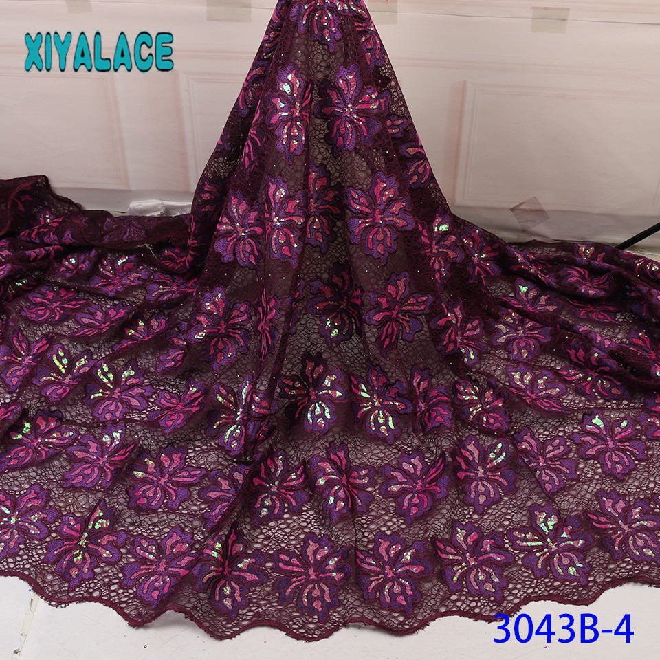 Exclusive 5 Yards French Lace Fabric African Organza Lace Fabric Unique Shiny Nigerian Laces With Sequins For Wedding KS3043B