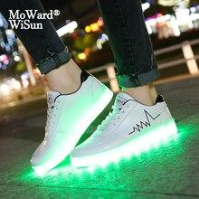 גודל 30 44 ילדים נעליים יומיומיות עם אורות Usb תשלום זוהר לילדים בני זוהר Led נעלי בנות מואר נעליים