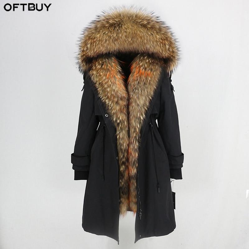 OFTBUY Waterproof Parka 2019 Real Fur Coat Winter Jacket Women Natural Raccoon Fur Collar Real Rex Rabbit Fur Liner Detachable-in Real Fur from Women's Clothing