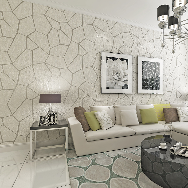 Modern Minimalist 3D Relief Suede Geometric Pattern Wallpaper Thick Nonwoven Fabric Bedroom Living Room Wall Wallpaper