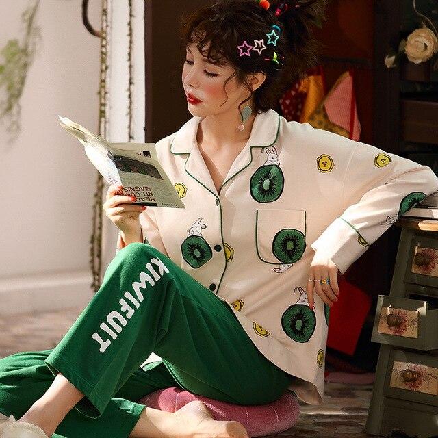 2019 yeni pamuk pijama sonbahar kış baskılı gecelikler seksi yeşil pijama pijama takım elbise rahat uyku seti sevimli karikatür ev tekstili
