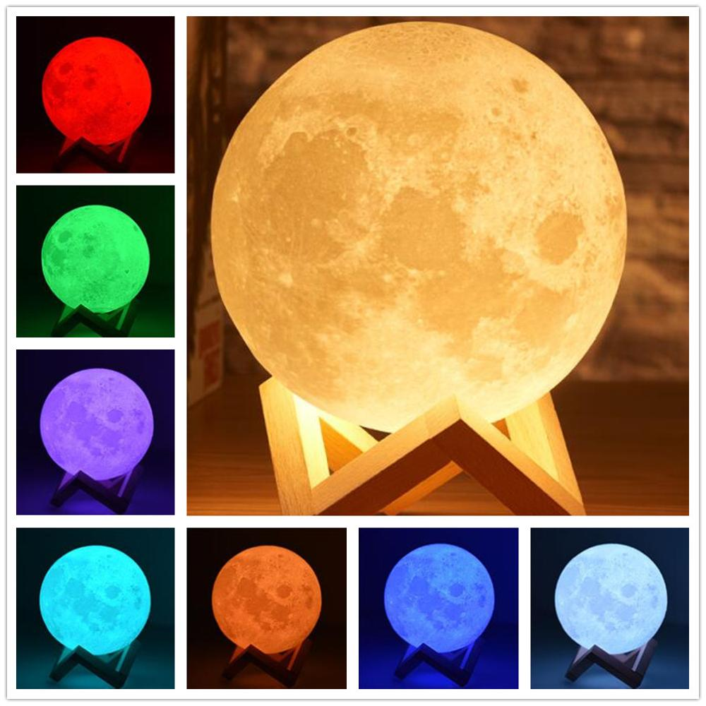 3D Print Moon Lamp Decorative Lamps LED Night Light Colorful Change 16 Colors Touch Usb Bedroom Home Decor Creative Gift
