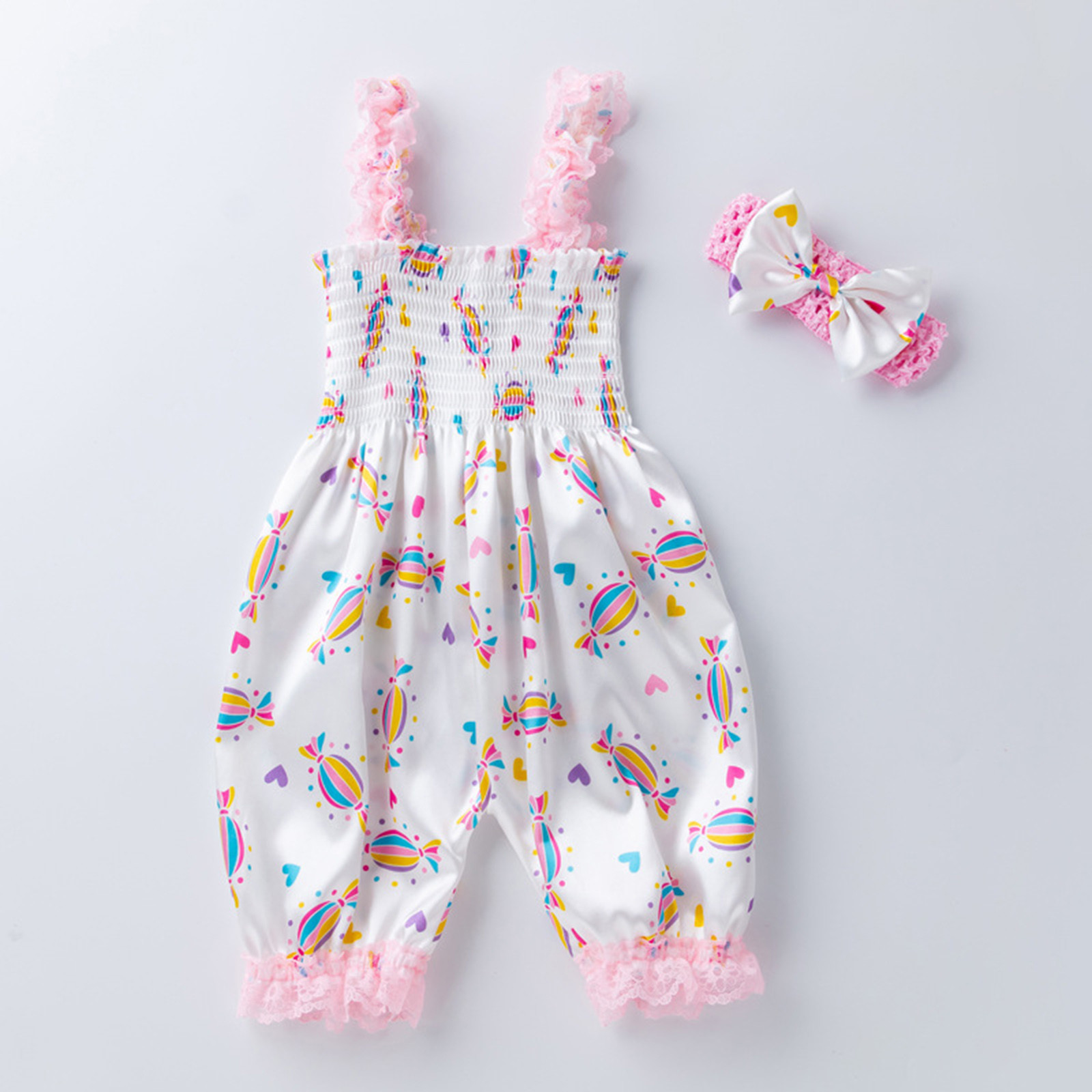 Candy Floral Summer Rompers Newborn Infant Baby Sleeveless Romper Ruffle Overalls Kid Jumpsuit Girl Outfits Toddler Headband Set