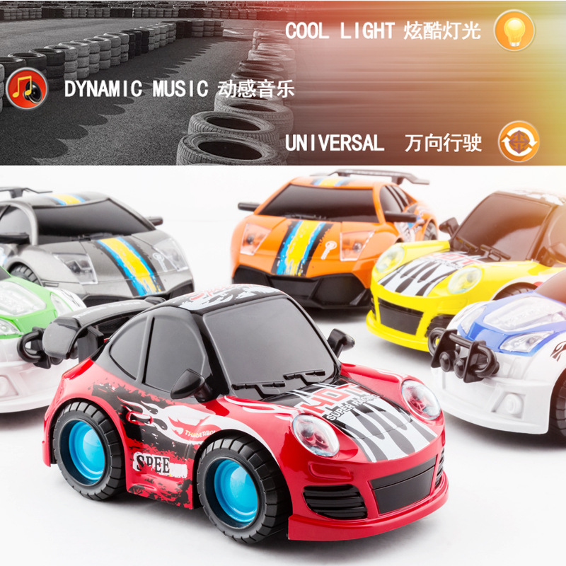 Children Electric Music Sports Car Toy 3D Colorful Lights Drop-resistant Cartoon Hero Race Car Universal Car Model Stall