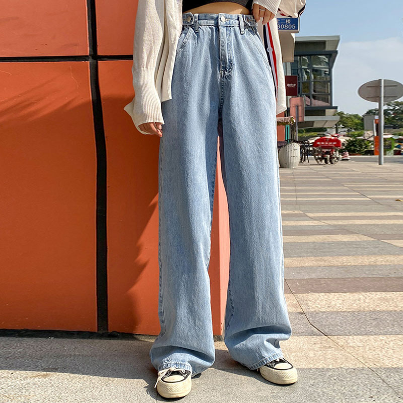 Woman Jeans High Waist Clothes Wide Leg Denim Clothing Blue Streetwear Vintage Quality Fashion Harajuku Straight Pants 2020