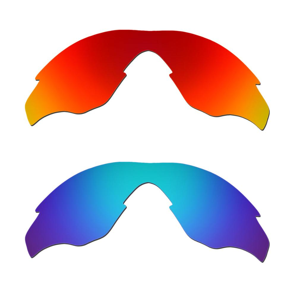 HKUCO For M2 Sunglasses Replacement Polarized Lenses 2 Pairs - Red & Blue