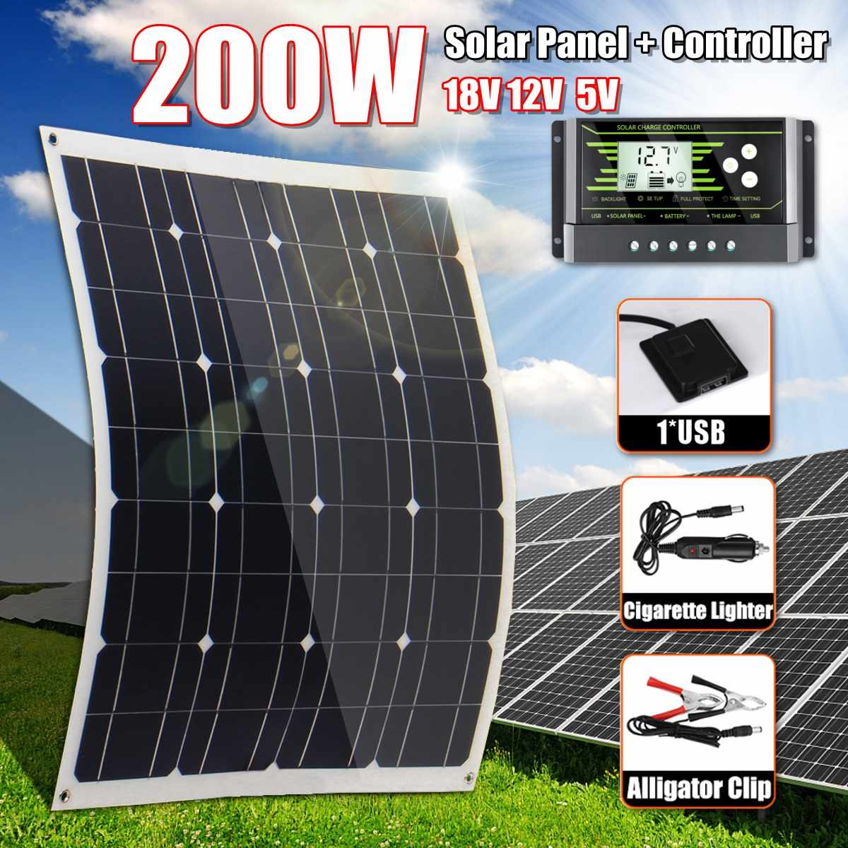 Hot Sales <font><b>200W</b></font> <font><b>Solar</b></font> <font><b>Panel</b></font> 18V 5V Flexible MonoCrystalline Silicon With 10/20/30A Controller for Outdoor <font><b>Solar</b></font> Battery image