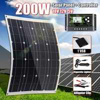 Hot Sales 200W Solar Panel 18V 5V Flexible MonoCrystalline Silicon With 10/20/30A Controller for Outdoor Solar Battery
