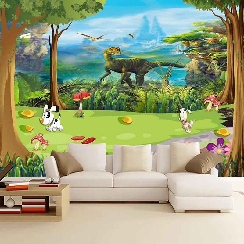 Custom 3D Cartoon Beautiful Forest Dinosaur Mural Wallpaper Living Room Children's Room Wall Decor Wall Cloth Fresco 3D Sticker