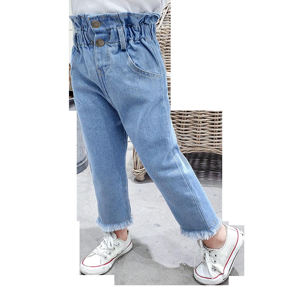 Джинсы для девочек однотонные джинсы Детские демисезонные джинсы для девочек Повседневная стильная детская джинсовая одежда|Джинсы| | АлиЭкспресс