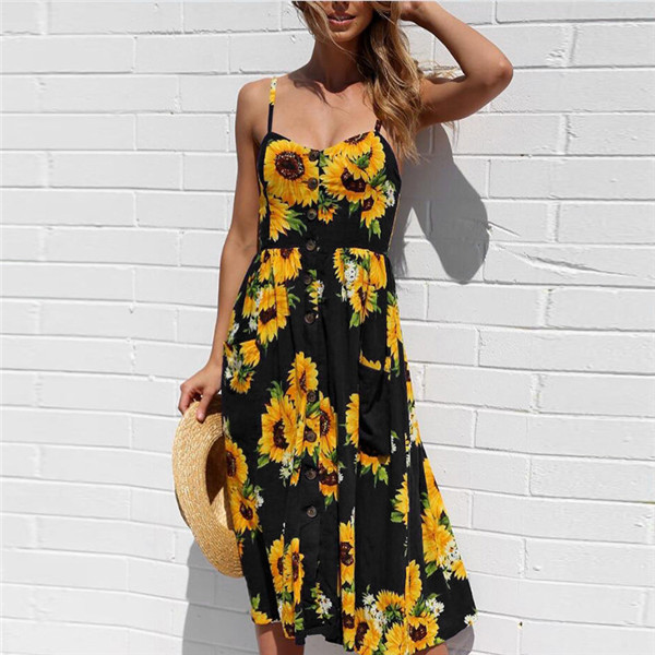 Boho Sexy Floral Dress Summer Vintage Casual Sundress Female Beach Dress Midi Button Backless Polka Dot Striped Women Dress2020  26