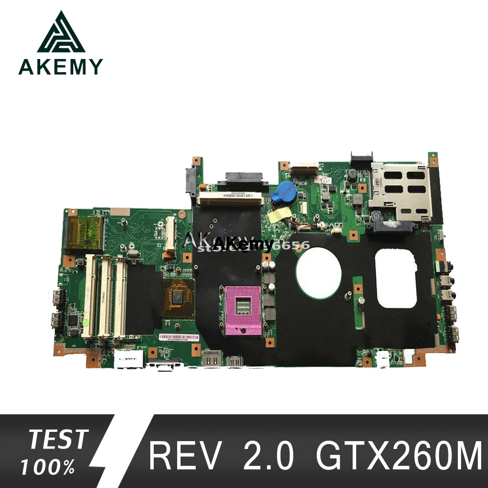 Akemy G72GX Laptop Motherboard REV 2.0 GTX260M For ASUS G72G G72GX G72G G71G G71GX Test Mainboard G72GX Motherboard Test 100% Ok