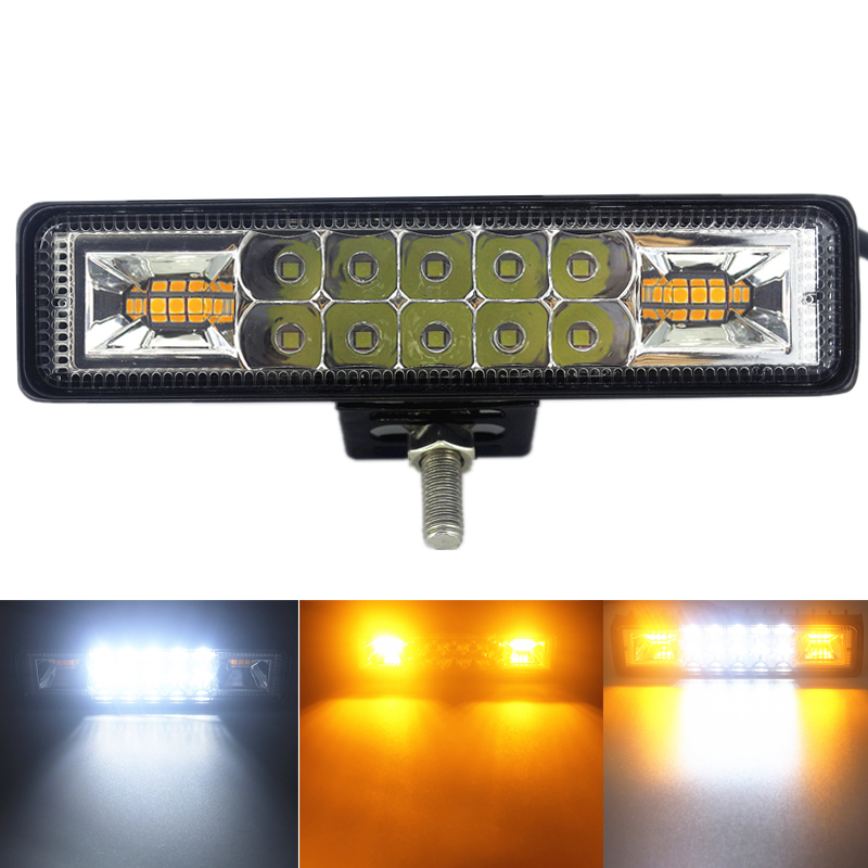 48W Strobe Flash Work Light LED Light Bar White Amber Blue Red For Offroad 4x4 ATV SUV Motorcycle Truck Trailer Car Accessories