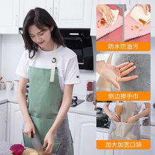 Home Japanese hand-wiping apron adjustable large pocket coral fleece sleeveless apron kitchen oil-proof overalls(China)
