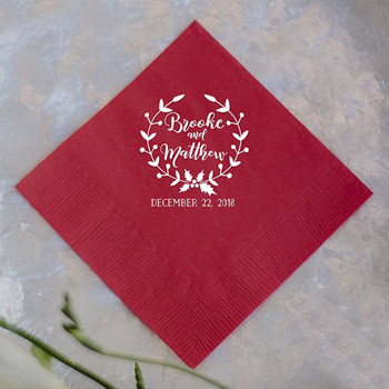 Red Color Custom Name Wedding Napkin Paper White Printing Personalized Bride Groom Party Table Decoration Wedding Gifts Supplies