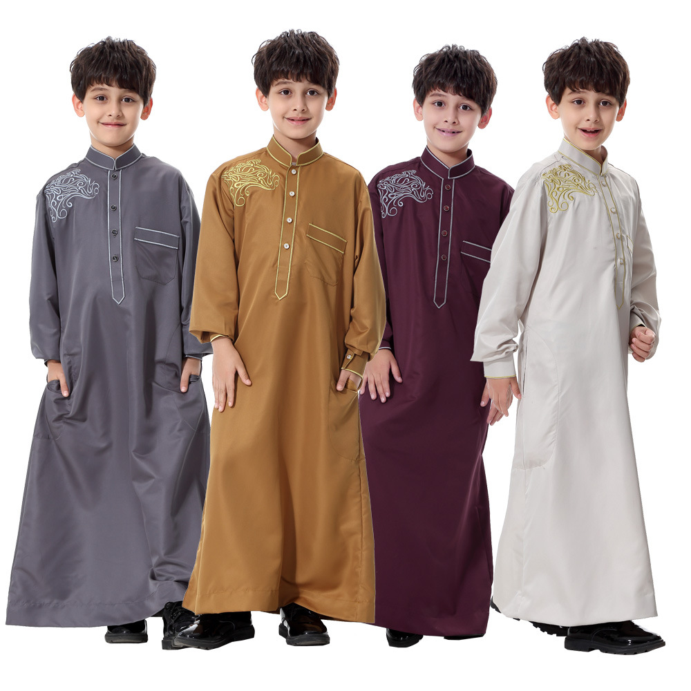 Turkish Muslim Kids Abaya Jubba Thobe Kimono Boy Thobe Thawb Caftan for Children Islamic Clothing Long Robes Dress Dubai Arab