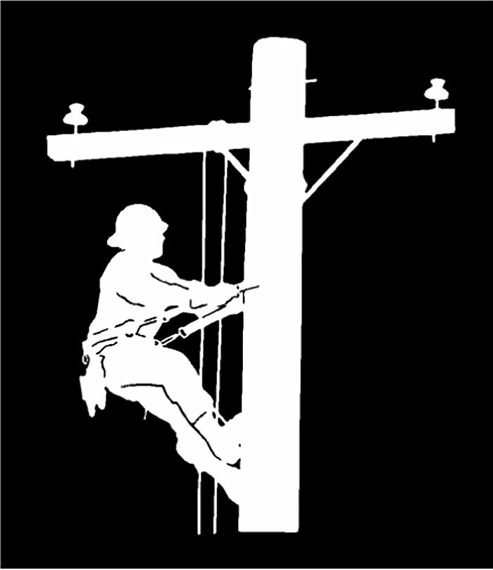 Vinyl Decal Lineman Electric Pole Climber Window Window Sticker Jew176
