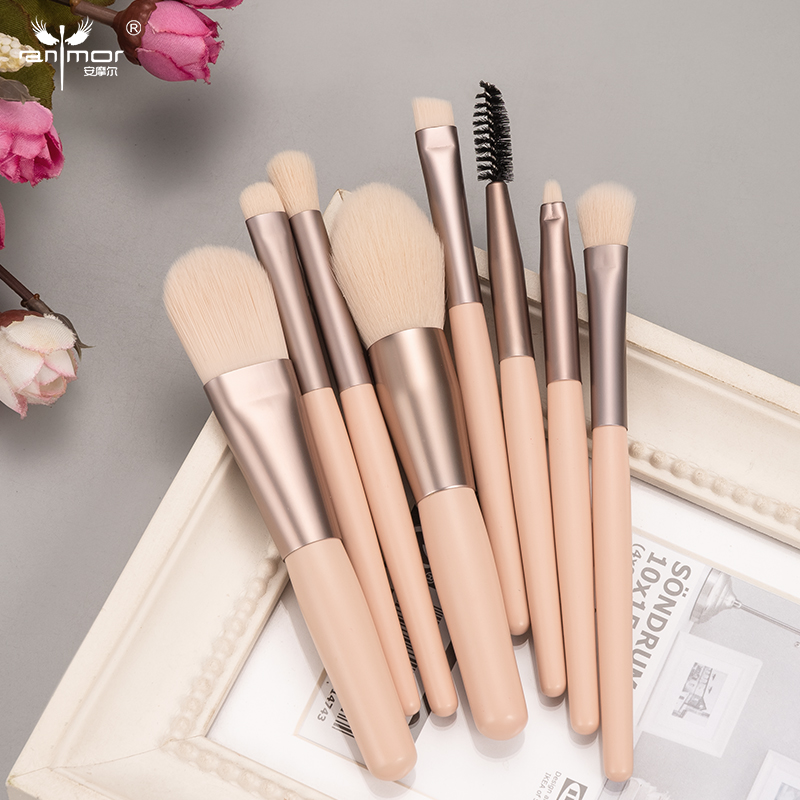 ANMOR 8Pcs Short Handle Makeup Brush Set Highlighter Eyeshadow Blending Eyelashes Eyebrow Brush For Make Up Pincel