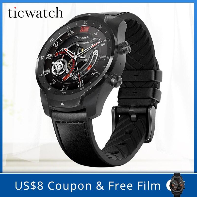 100% Originele Global Ticwatch PRO Android wear NFC Google Betalen GPS Smart Horloge IP68 Waterdichte AMOLED Display smartwatchs voor Mannen-in Smart watches van Consumentenelektronica op  Groep 1
