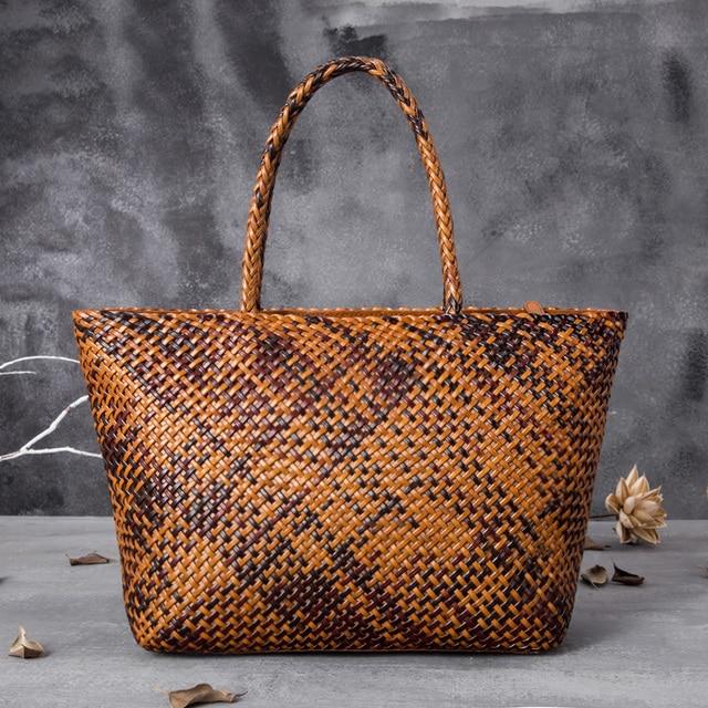 Frauen Echt Leder Handtasche Romantische Handarbeit Gewebt Totes Weibliche Rindsleder Braun Kaffee Schwarz Große Urlaub Tasche Kausalen Weiche Handtaschen