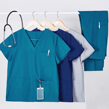 Solid-Scrub-Set Nurse-Uniform Cotton Polyester Workwear Drawstring 8020-2 V-Neck
