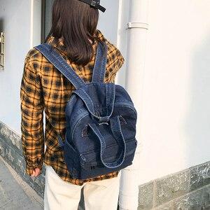 Image 3 - Denim School Bag Teenager Backpack Ladies High Capacity Women Backpacks 2019 Travel Bag Students Mochila Bolsa harajuku backpack