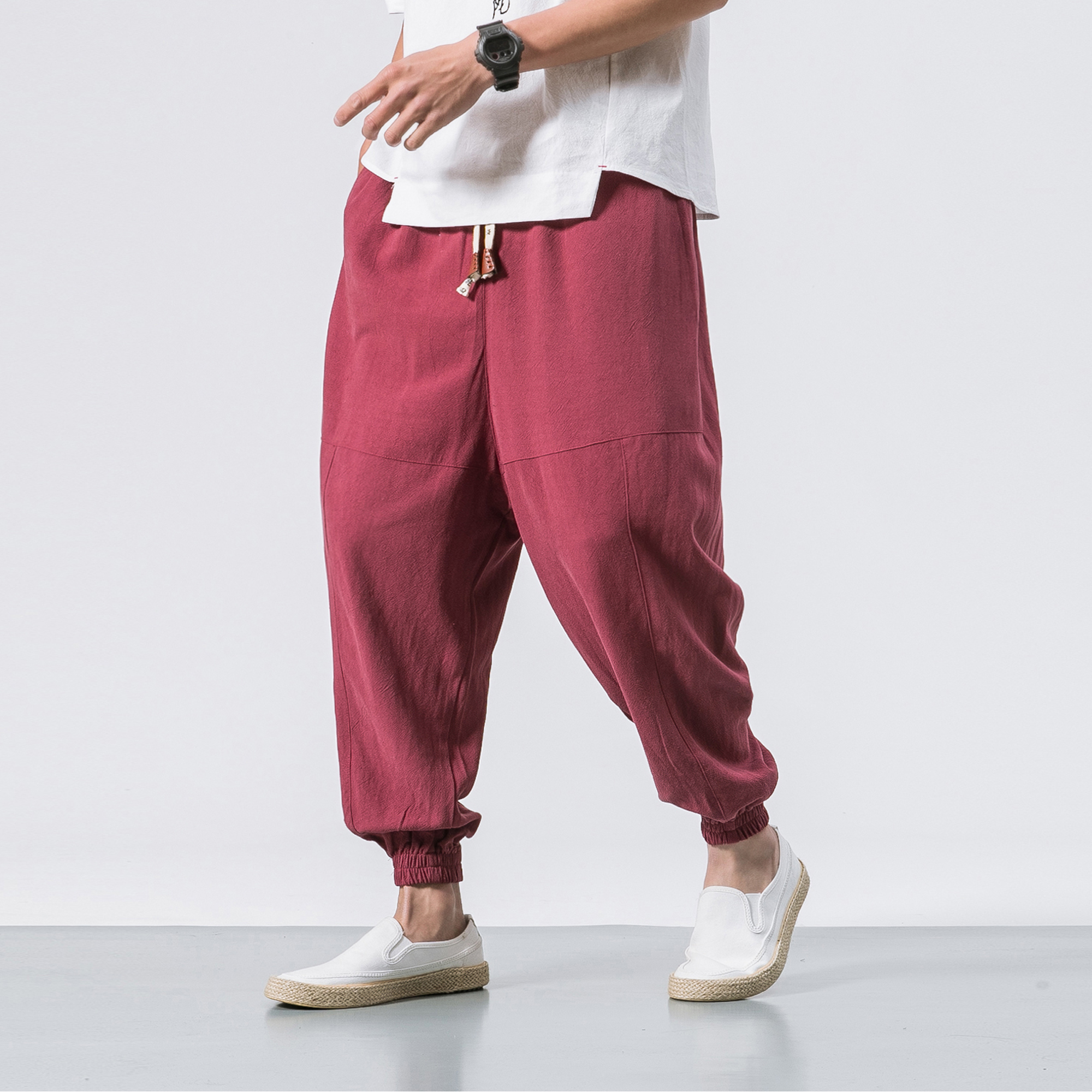 New Japanese Style High Quality Linen Loose Feet Pants Large Size Fashion Men's Black Harem Pants Elastic Waist Pants Plus Size