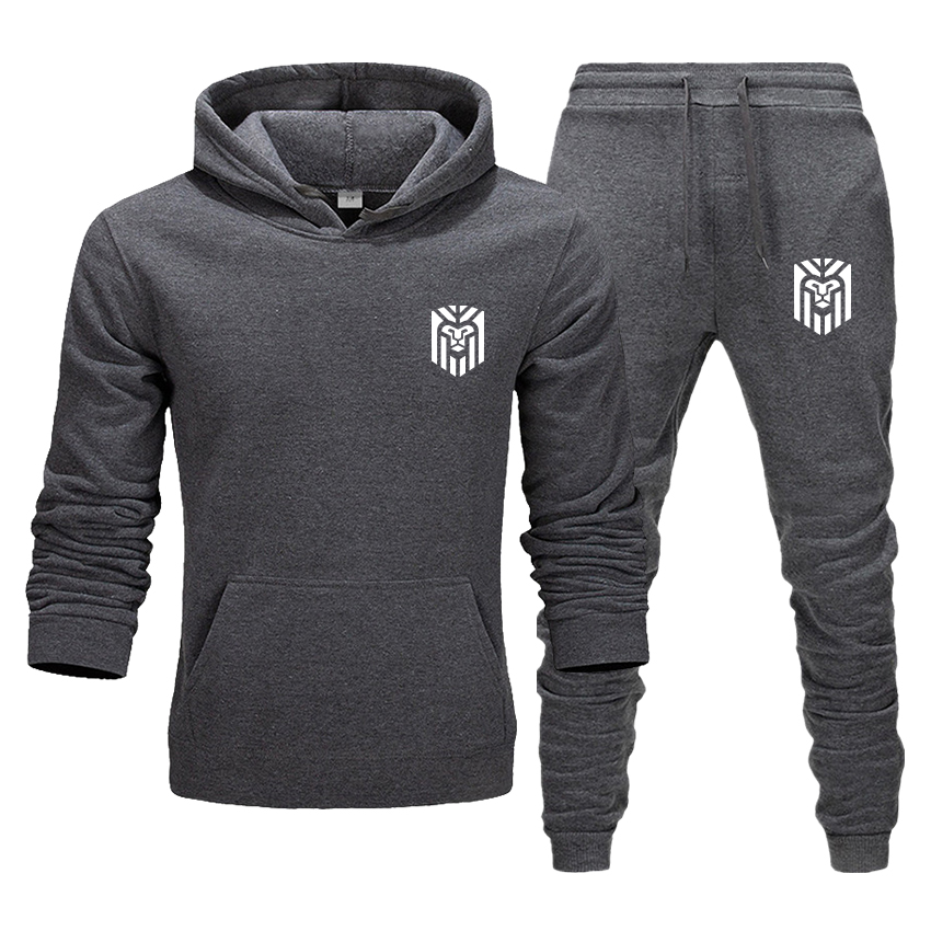 Tracksuit Men Sporting Fleece Hooded Brand-Clothing Casual Suit Men Jacket Pant Inside Winter Sweatshirt Men's 2 Piece Suit