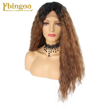 цена на Ebingoo Dark Roots Ombre Brown Synthetic Lace Front Wig Long Afro Kinky Curly Fluffy Heat Resistant Futura Wigs for Women
