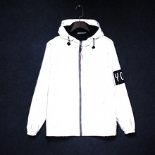 Autumn Spring Reflective Sweatshirt teenager Men/women Harajuku Windbreaker Sports Hooded Streetwear Coat M0916