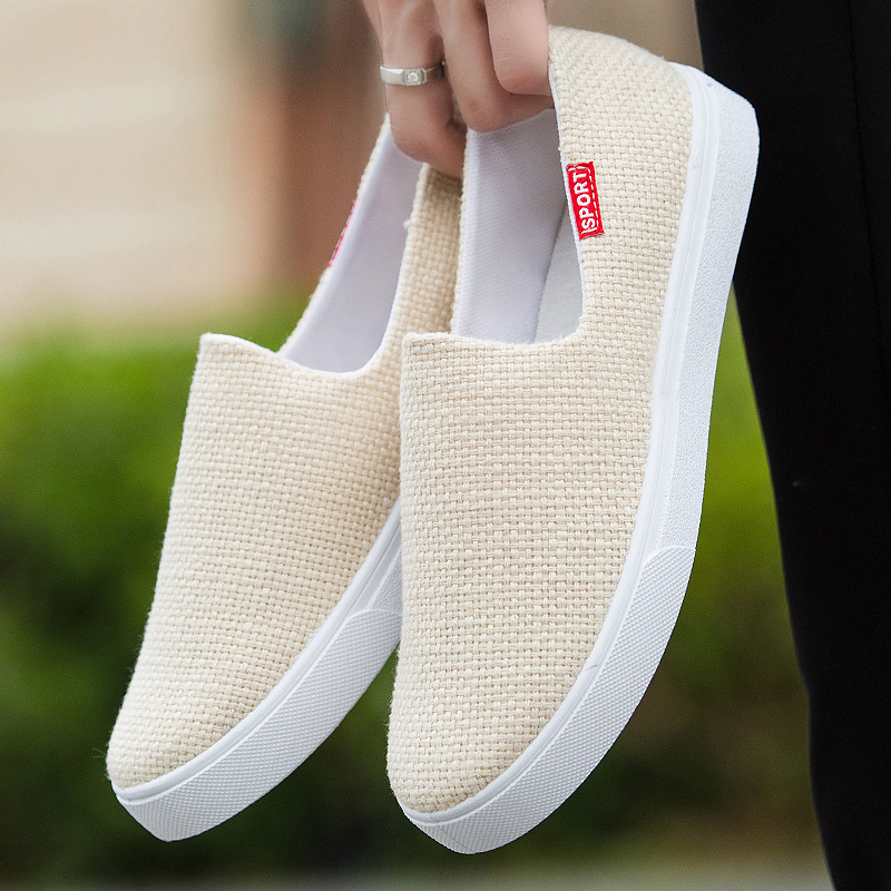 2020 Spring Men Loafer Breathable Flats Casual Hemp Shoes Linen Slip On Sneakers Summer Comfort Driving Shoes For Men  2h43