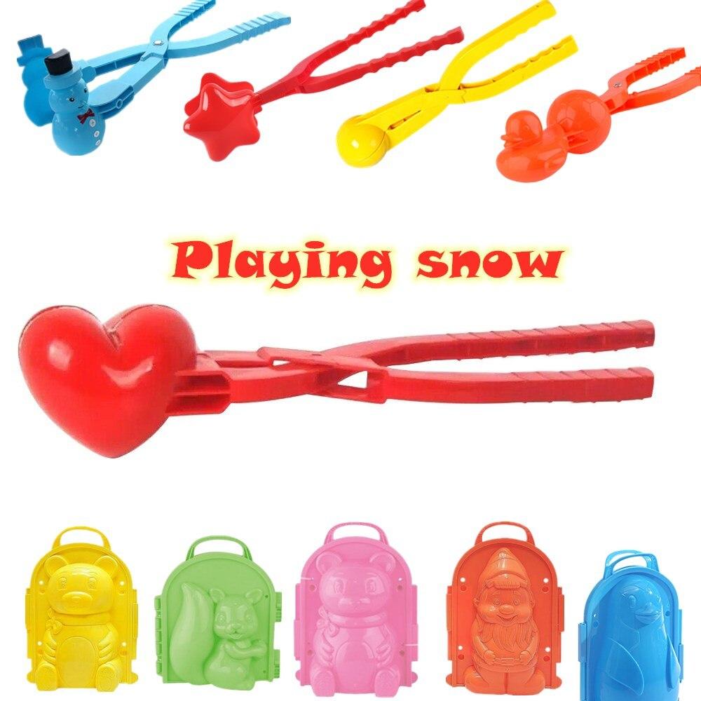 8 см в форме сердца снежок чайник зимние Пластик снежок чайник клип, флисовая верхняя одежда для детей, песок снежный шар формы игрушки с кли...