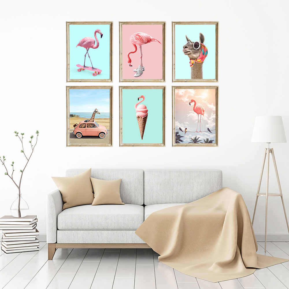 Flamingo Girafe on Bus Canvas Poster Nursery Animal Wall Art Print Painting Nordic Picture Children Bedroom Decoration Frame