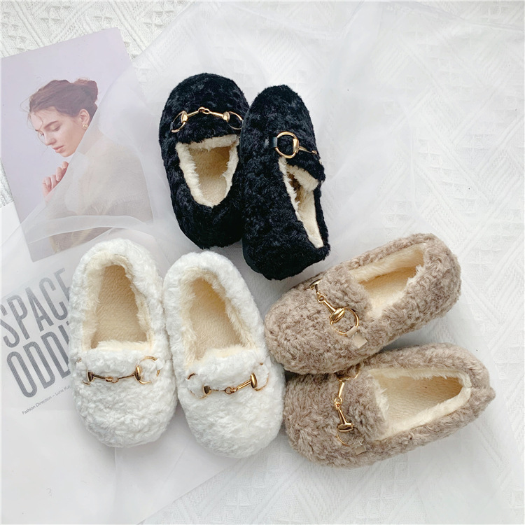 2019 Winter New Children Two-cotton Shoes KOREAN Girls Shoes  Autumn And Winter Plus Cashmere Fleece Mao Mao Shoes Kids Girl