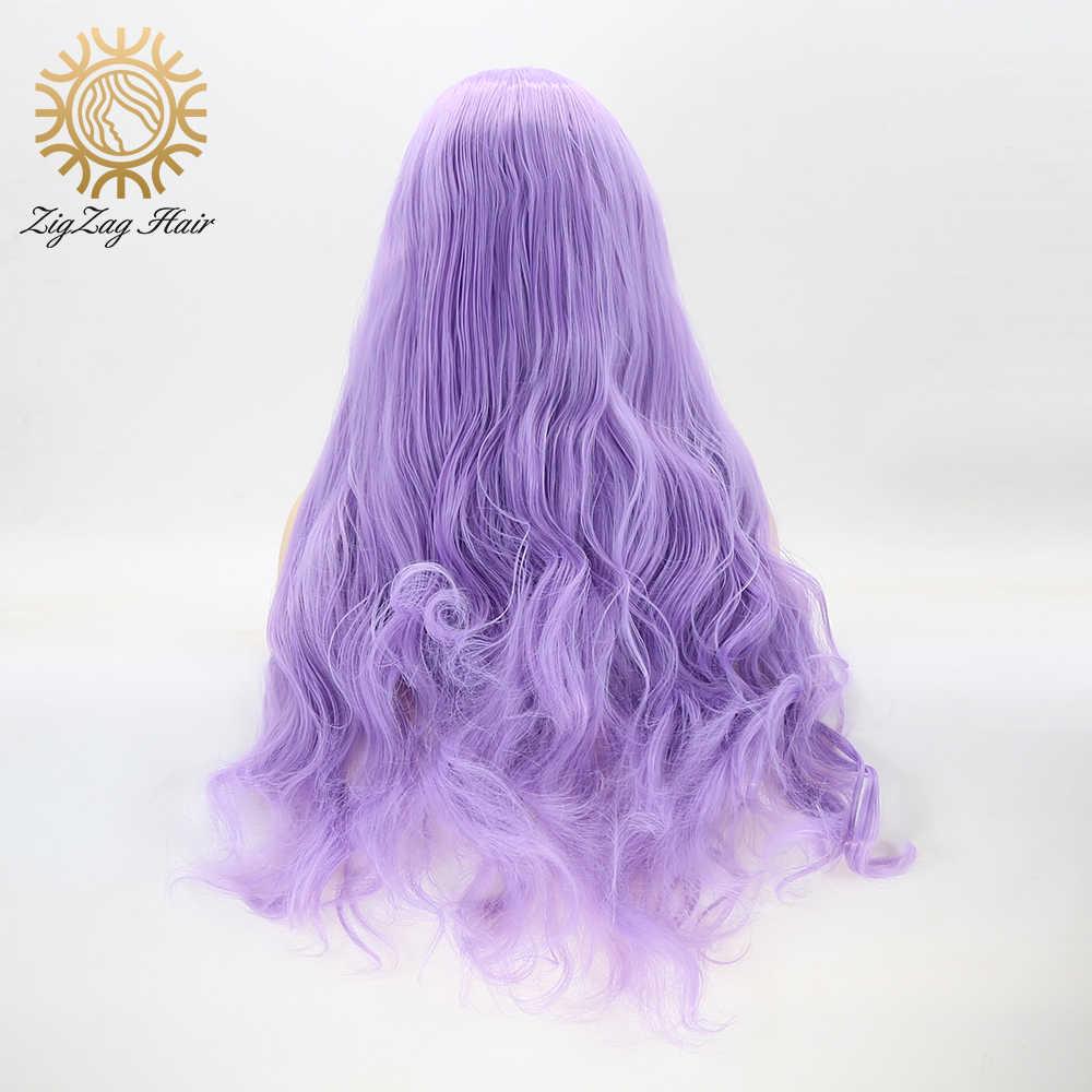 Zygzak fioletowy peruka falista koronkowa peruka na przód fioletowe długie naturalne bezklejowe peruki syntetyczne dla kobiet lawendowe włókno termoodporne włosy