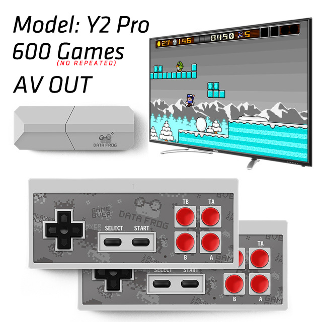 Data Frog USB Wireless Handheld TV Video Game Console Build In 600 Classic Game 8 Bit Mini Video Console Support AV/HDMI Output 5