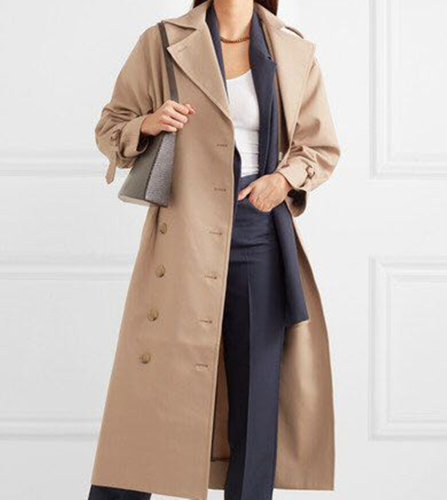 Nordic Women Trench Coat Black/ Khaki Overcoat Casual Cotton Double Breasted Long Women Trench Jacket with Belt