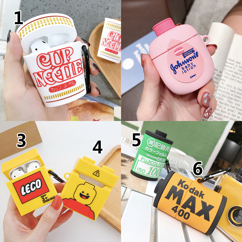 3D Cute Cup Noodle Funny Food Headphone <font><b>Cases</b></font> for <font><b>Airpods</b></font> 1/2 Lovely <font><b>Silicone</b></font> Protection Earphone Cover Accessories image