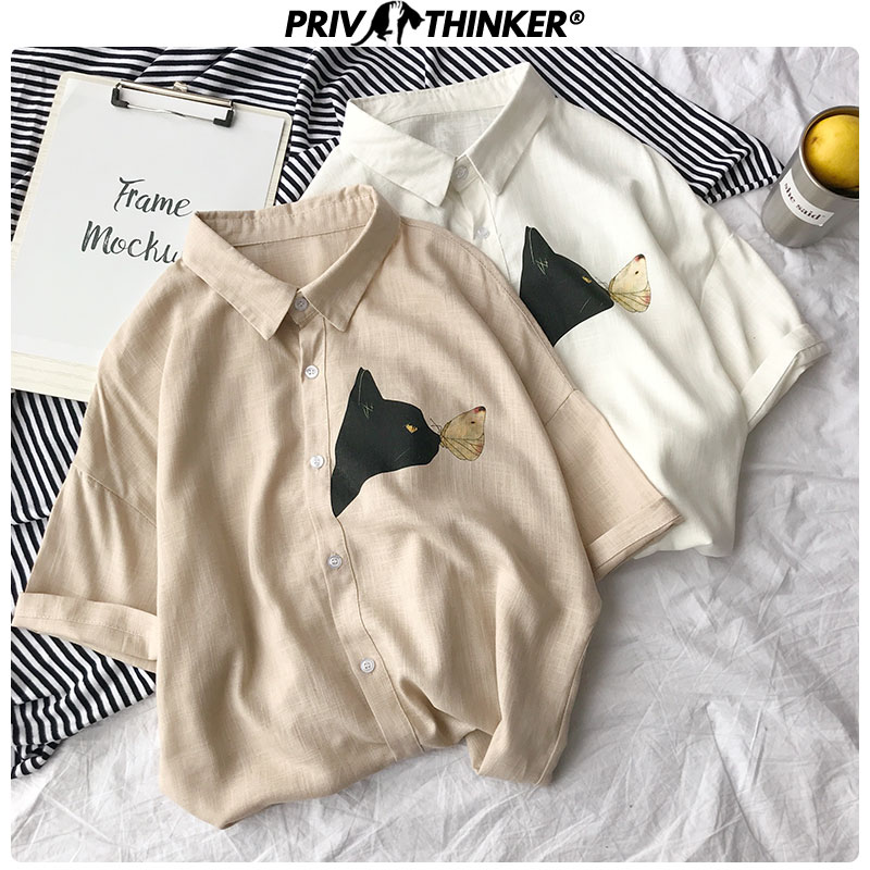 Privathinker Men's Summer Cotton Linen Shirts 2020 Korean Cat Printed  Men Harajuju Short Sleeve Blouse Male Casual Shirts