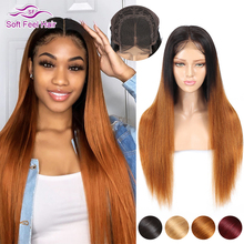 4x4 Closure Wig Ombre Human Hair Wigs For Black Women Lace Closure Wig Brown Burgundy Remy Brazilian Straight Wig Soft Feel Hair