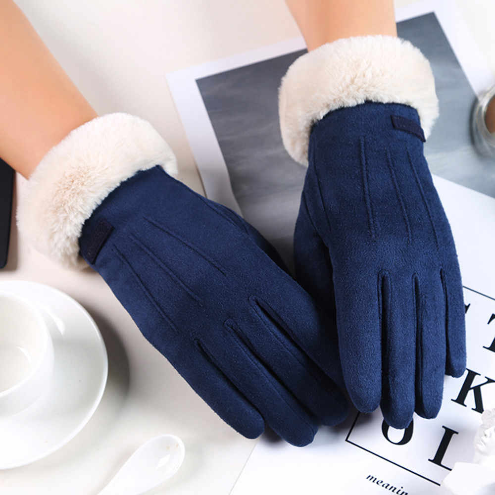 Women gloves Velvet keep warm Touch screen gloves full finger Windproof winter gloves mittens outdoor cycling glove