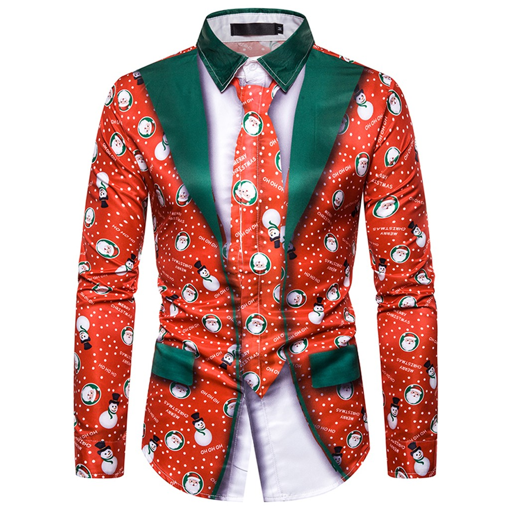 Winter Christmas Shirt Men Turn Down Collar Fake Two Pieces Casual Snowflakes 3d Printed Christmas Shirt Blouse Camisas Hombre