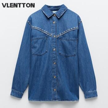 2020 Autumn Women Vintage Blue Denim Shirt Jacket Chic Button Rivet Jeans Coat Female Casual Loose Long Outwear Chaqueta Mujer 1
