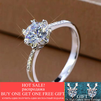 Classic Engagement Moissanite Rings 925 Sterling Silver 18K White Gold Plated Brilliant Cut D Color 1 Carat Diamond Ring Jewelry